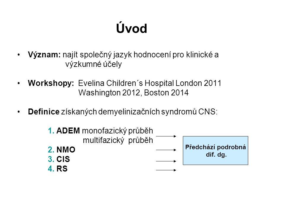 Úvod Význam: najít společný jazyk hodnocení pro klinické a