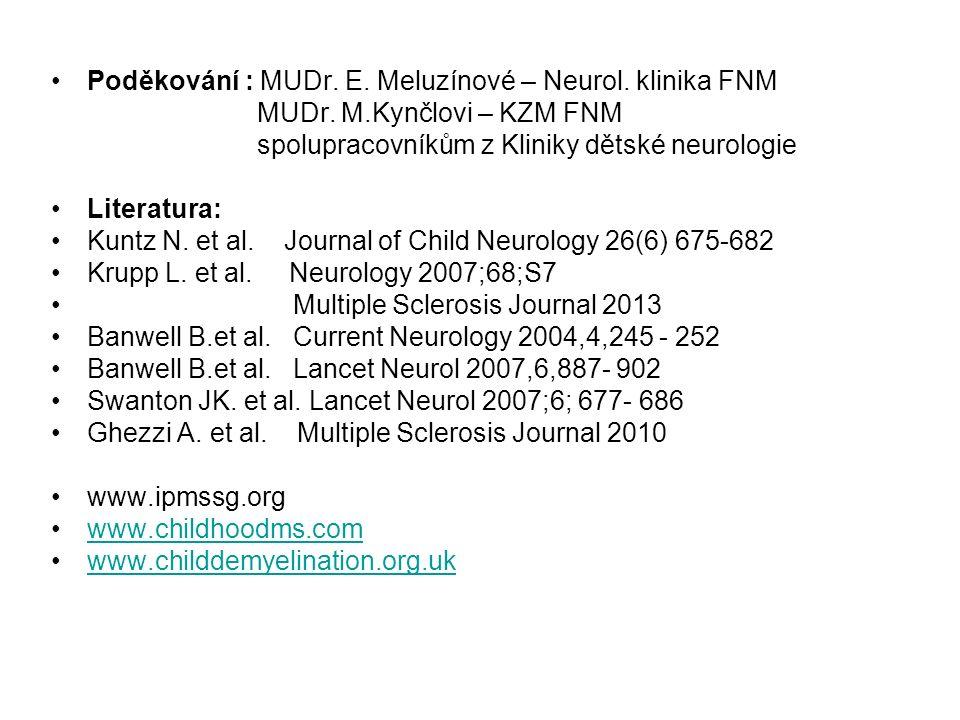 Poděkování : MUDr. E. Meluzínové – Neurol. klinika FNM