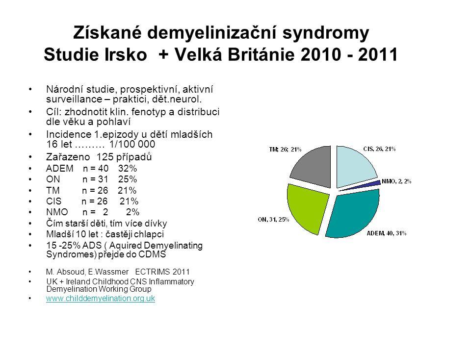 Získané demyelinizační syndromy Studie Irsko + Velká Británie 2010 - 2011