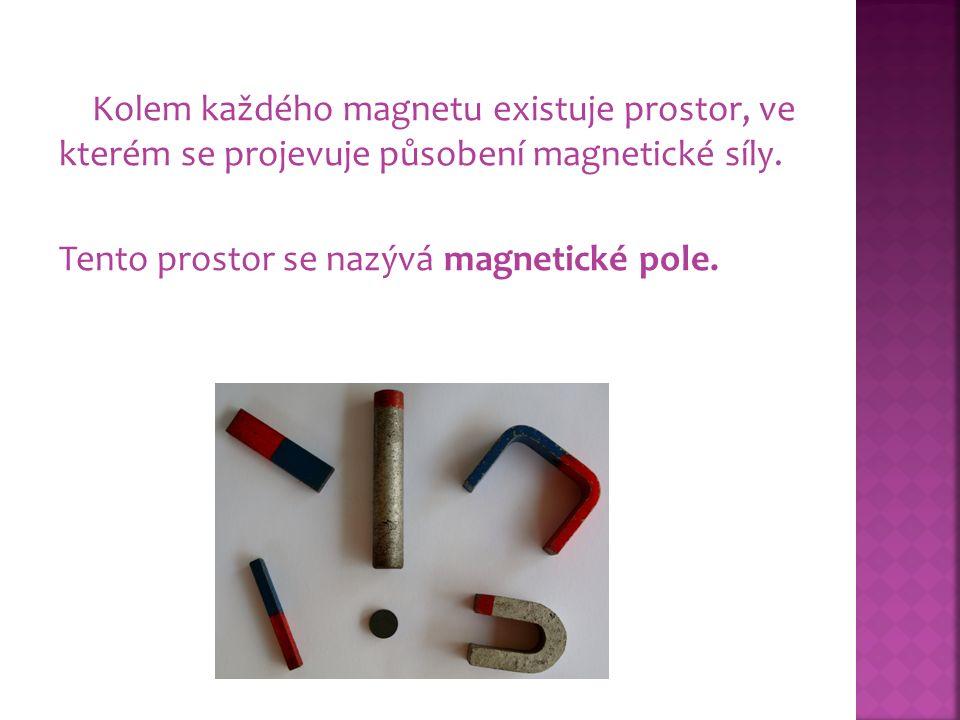 Kolem každého magnetu existuje prostor, ve kterém se projevuje působení magnetické síly.