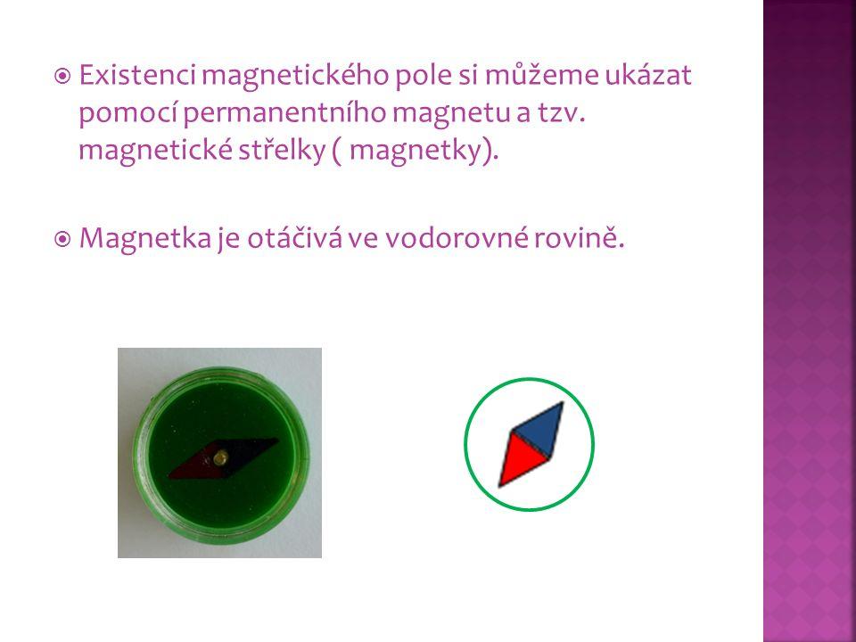 Existenci magnetického pole si můžeme ukázat pomocí permanentního magnetu a tzv. magnetické střelky ( magnetky).