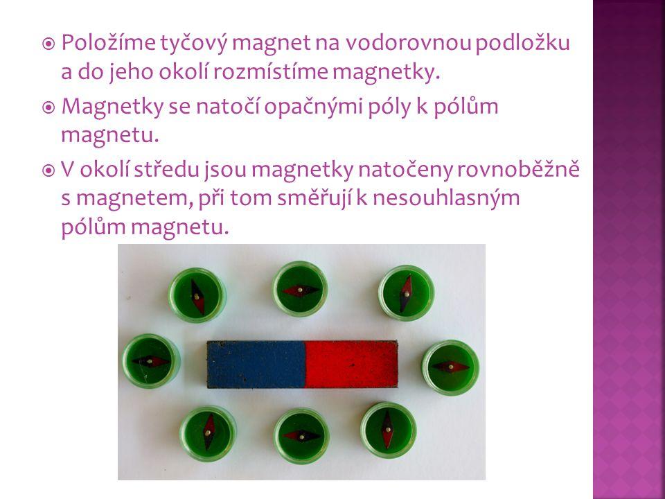 Položíme tyčový magnet na vodorovnou podložku a do jeho okolí rozmístíme magnetky.