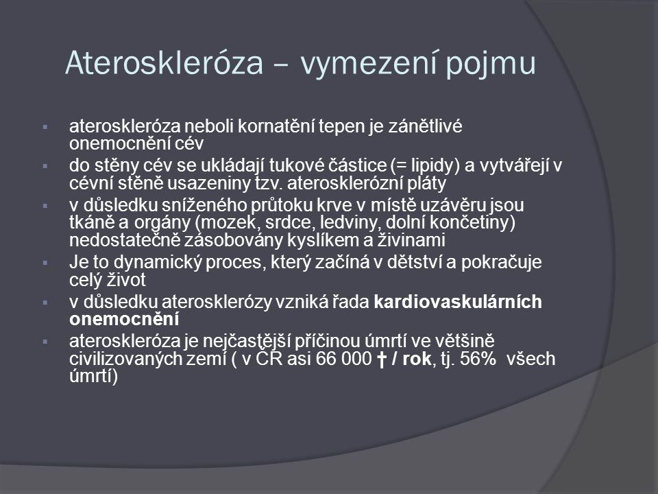 Ateroskleróza – vymezení pojmu
