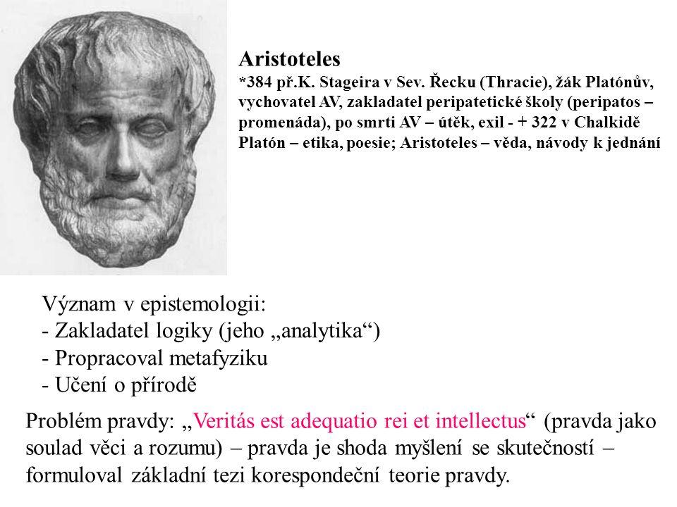 """Význam v epistemologii: Zakladatel logiky (jeho """"analytika )"""