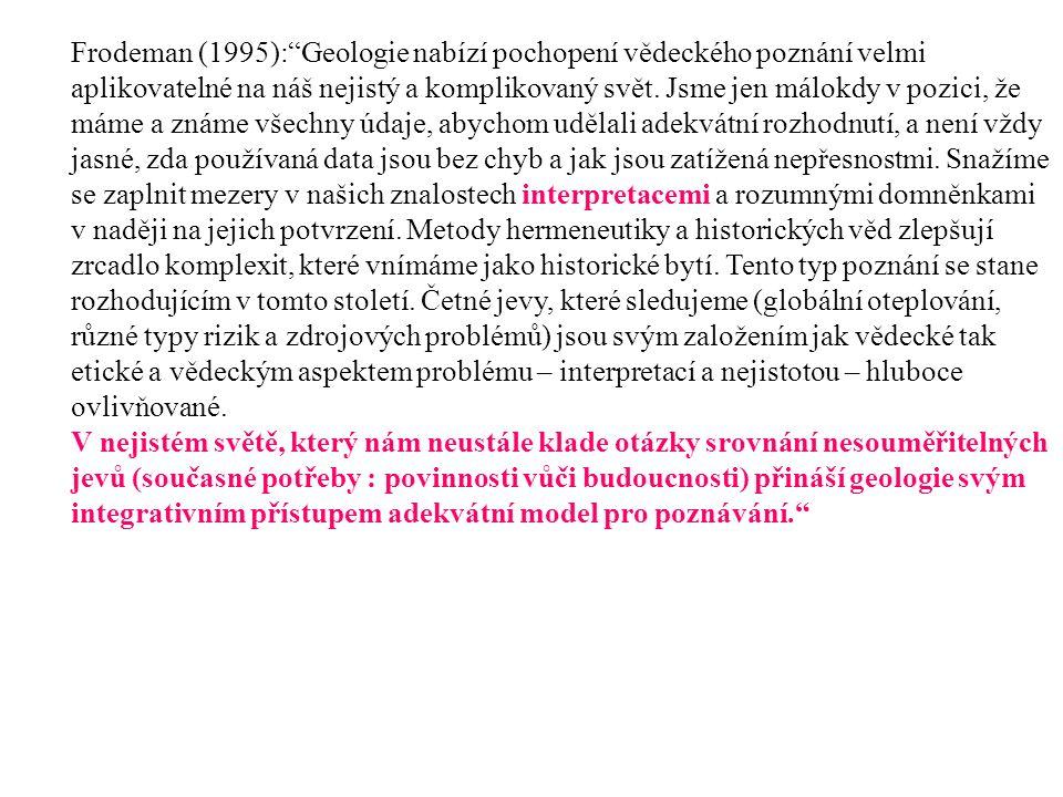 Frodeman (1995): Geologie nabízí pochopení vědeckého poznání velmi