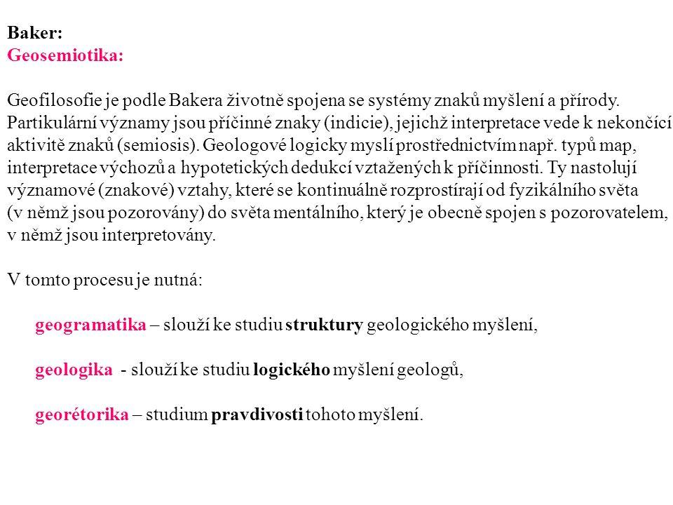 Baker: Geosemiotika: Geofilosofie je podle Bakera životně spojena se systémy znaků myšlení a přírody.