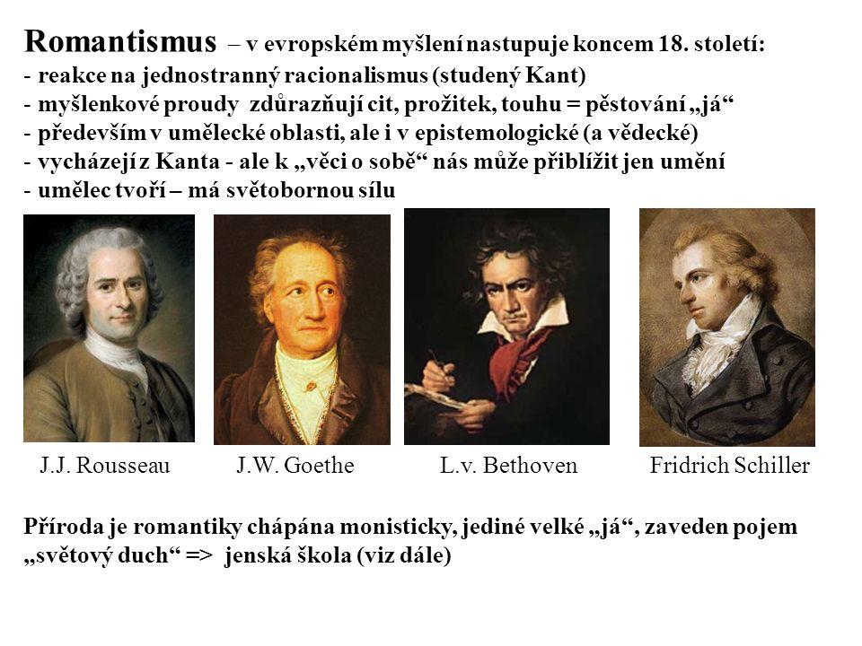Romantismus – v evropském myšlení nastupuje koncem 18. století: