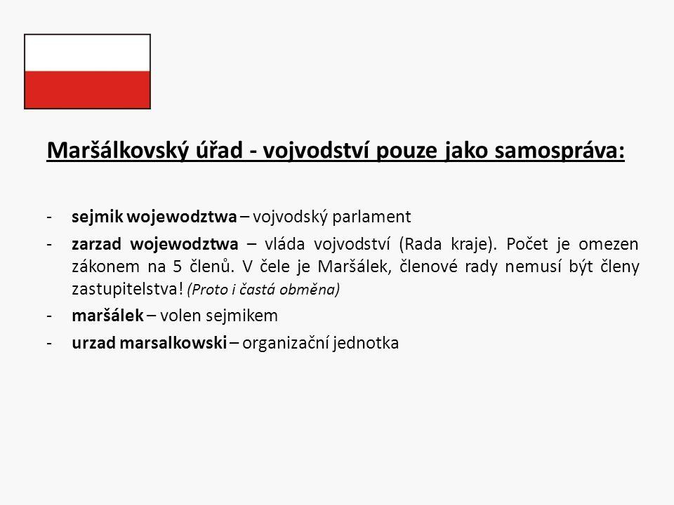 Maršálkovský úřad - vojvodství pouze jako samospráva: