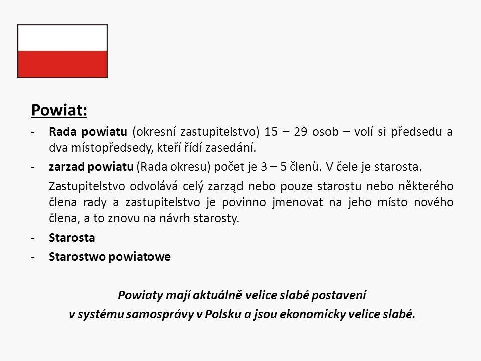 Powiat: Rada powiatu (okresní zastupitelstvo) 15 – 29 osob – volí si předsedu a dva místopředsedy, kteří řídí zasedání.