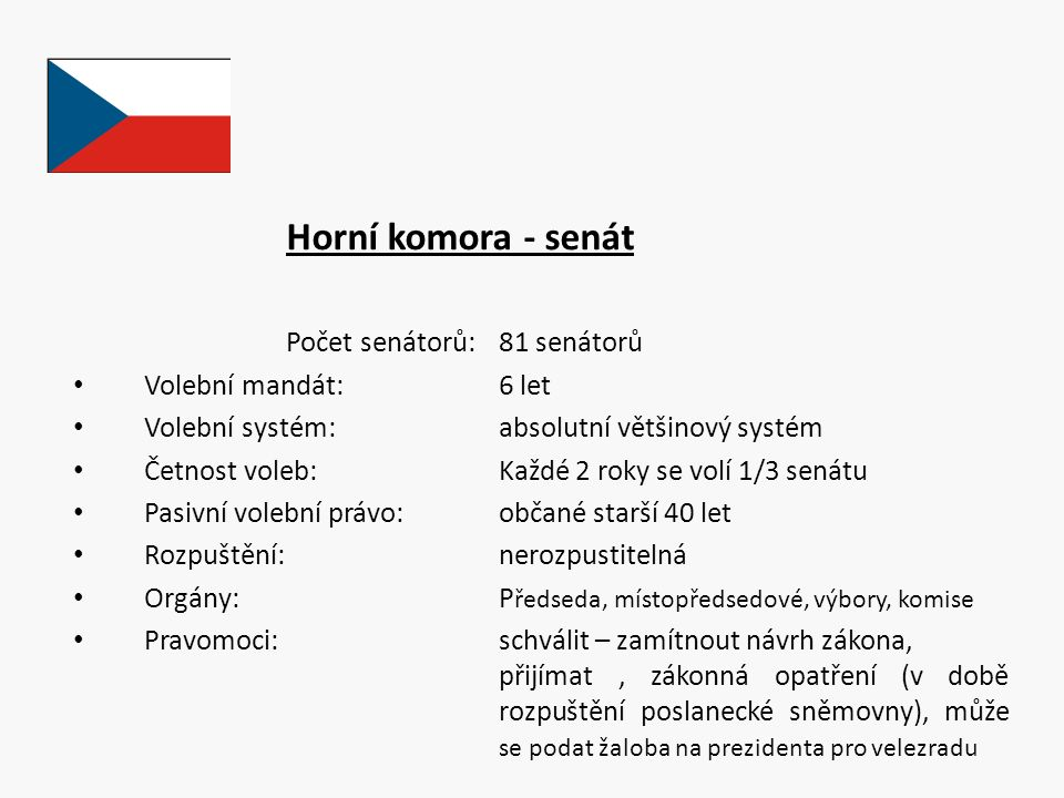 Horní komora - senát Počet senátorů: 81 senátorů Volební mandát: 6 let