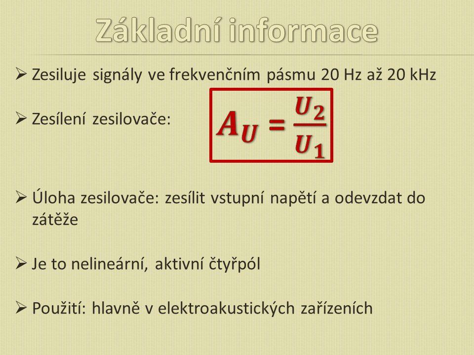 Základní informace 𝑨 𝑼 = 𝑼 𝟐 𝑼 𝟏