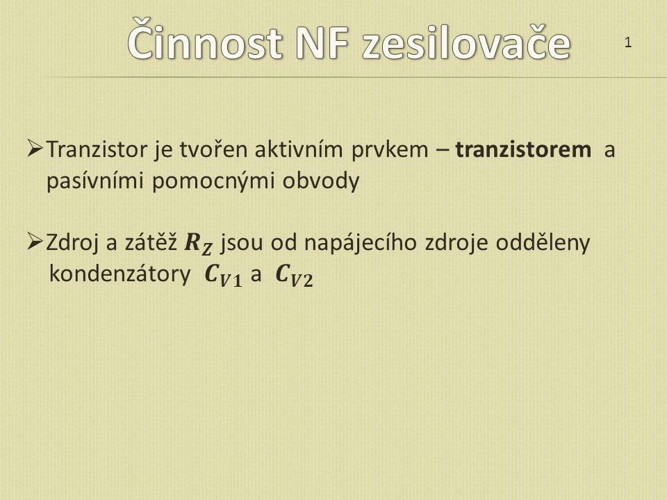 Činnost NF zesilovače 1. Tranzistor je tvořen aktivním prvkem – tranzistorem a pasívními pomocnými obvody.