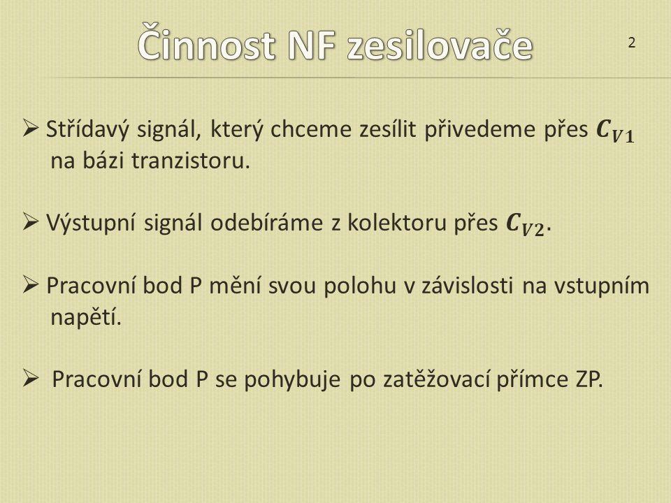Činnost NF zesilovače 2. Střídavý signál, který chceme zesílit přivedeme přes 𝑪 𝑽𝟏. na bázi tranzistoru.