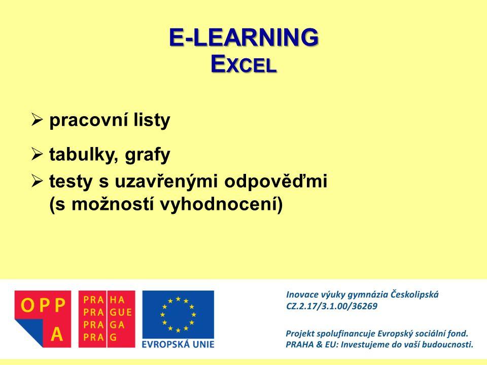 E-LEARNING Excel pracovní listy tabulky, grafy