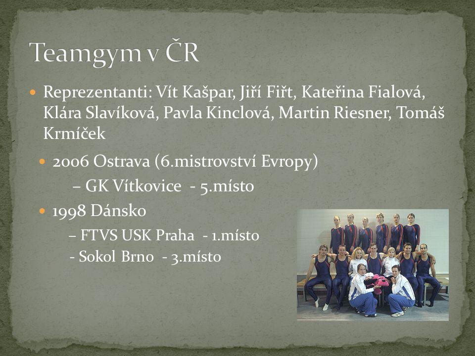 Teamgym v ČR Reprezentanti: Vít Kašpar, Jiří Fiřt, Kateřina Fialová, Klára Slavíková, Pavla Kinclová, Martin Riesner, Tomáš Krmíček.