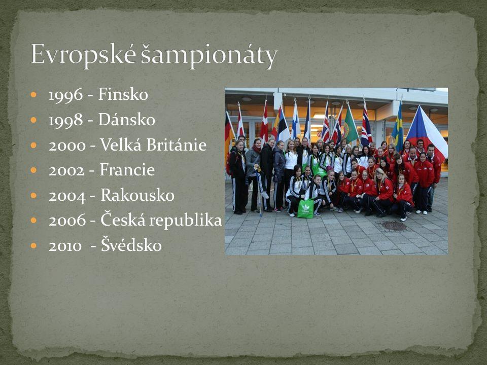 Evropské šampionáty 1996 - Finsko 1998 - Dánsko 2000 - Velká Británie