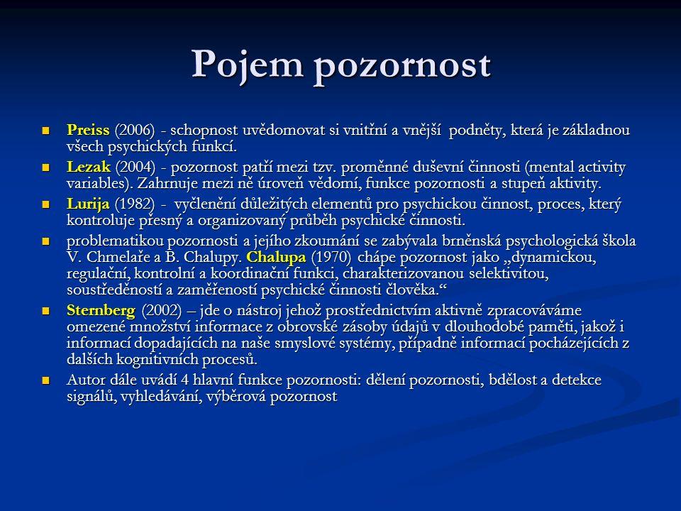 Pojem pozornost Preiss (2006) - schopnost uvědomovat si vnitřní a vnější podněty, která je základnou všech psychických funkcí.