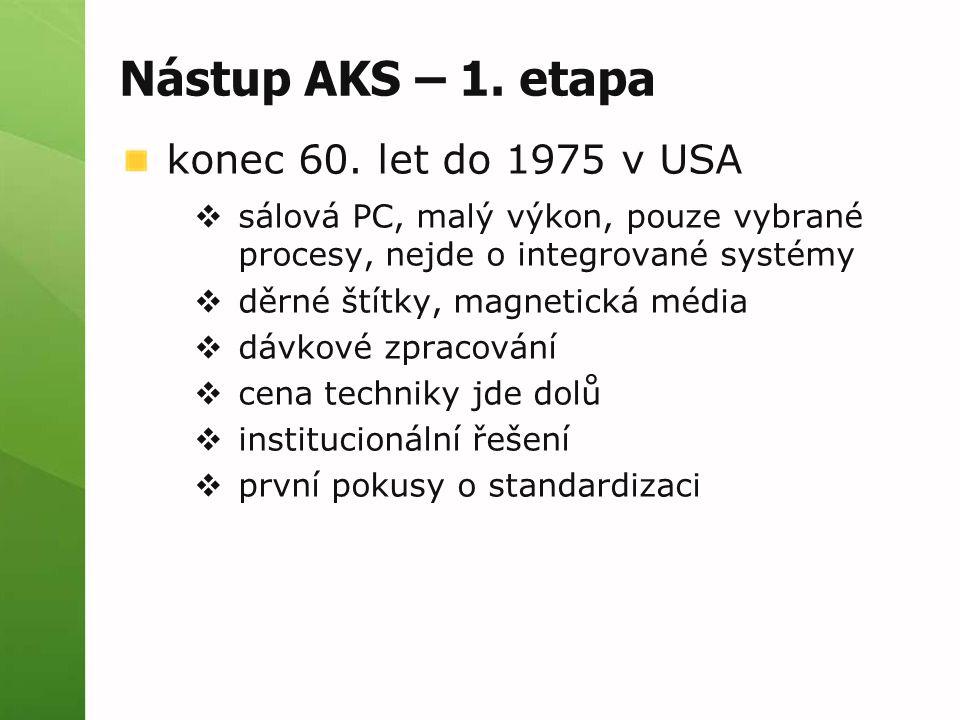Nástup AKS – 1. etapa konec 60. let do 1975 v USA