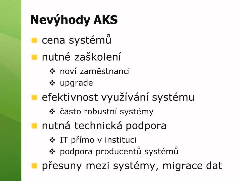 Nevýhody AKS cena systémů nutné zaškolení