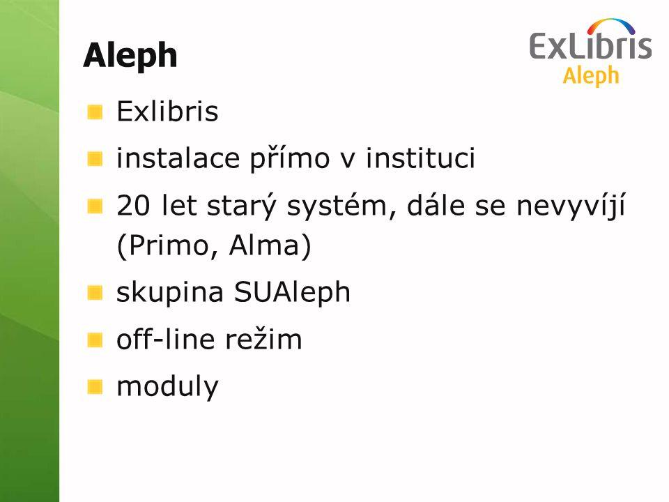 Aleph Exlibris instalace přímo v instituci