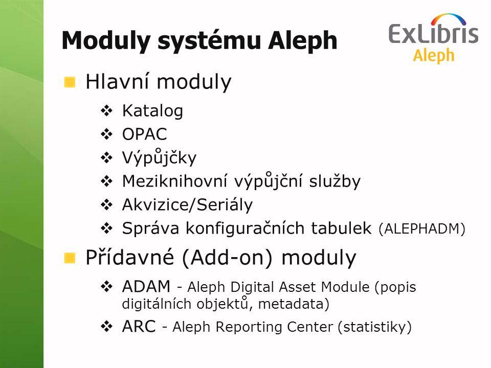 Moduly systému Aleph Hlavní moduly Přídavné (Add-on) moduly Katalog