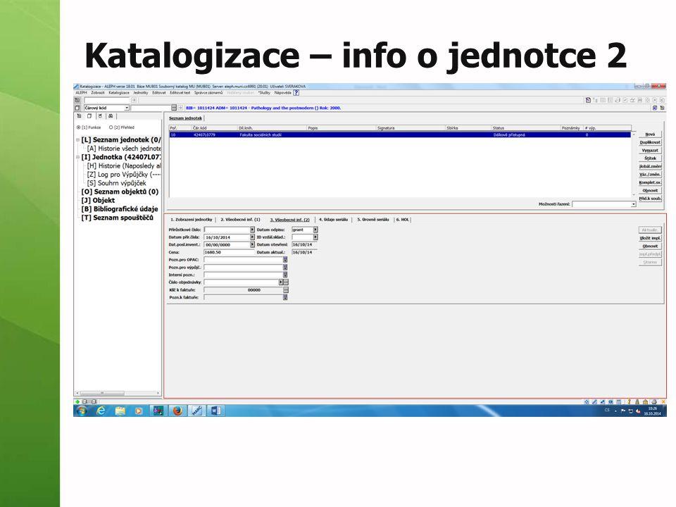 Katalogizace – info o jednotce 2