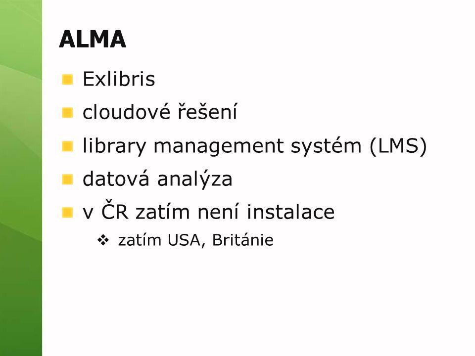 ALMA Exlibris cloudové řešení library management systém (LMS)