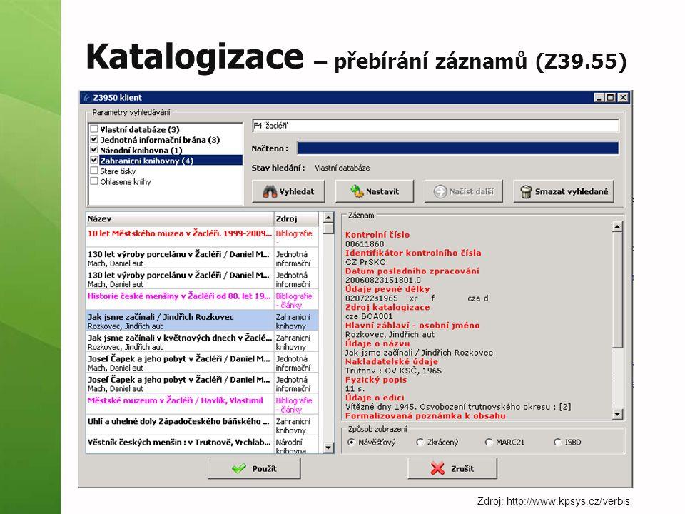Katalogizace – přebírání záznamů (Z39.55)