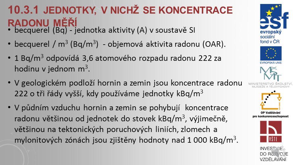 10.3.1 jednotky, v nichž se koncentrace radonu měří