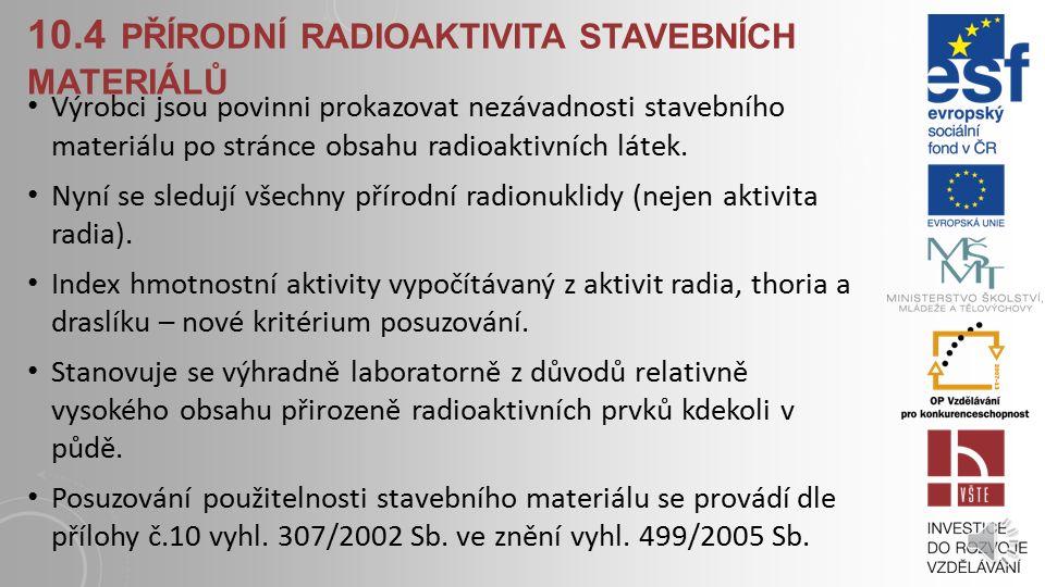 10.4 Přírodní radioaktivita stavebních materiálů