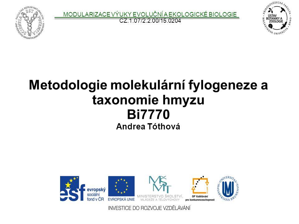 Metodologie molekulární fylogeneze a taxonomie hmyzu
