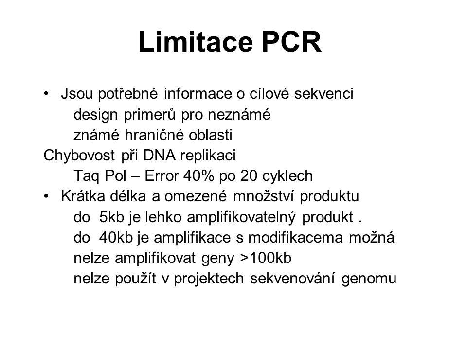Limitace PCR Jsou potřebné informace o cílové sekvenci