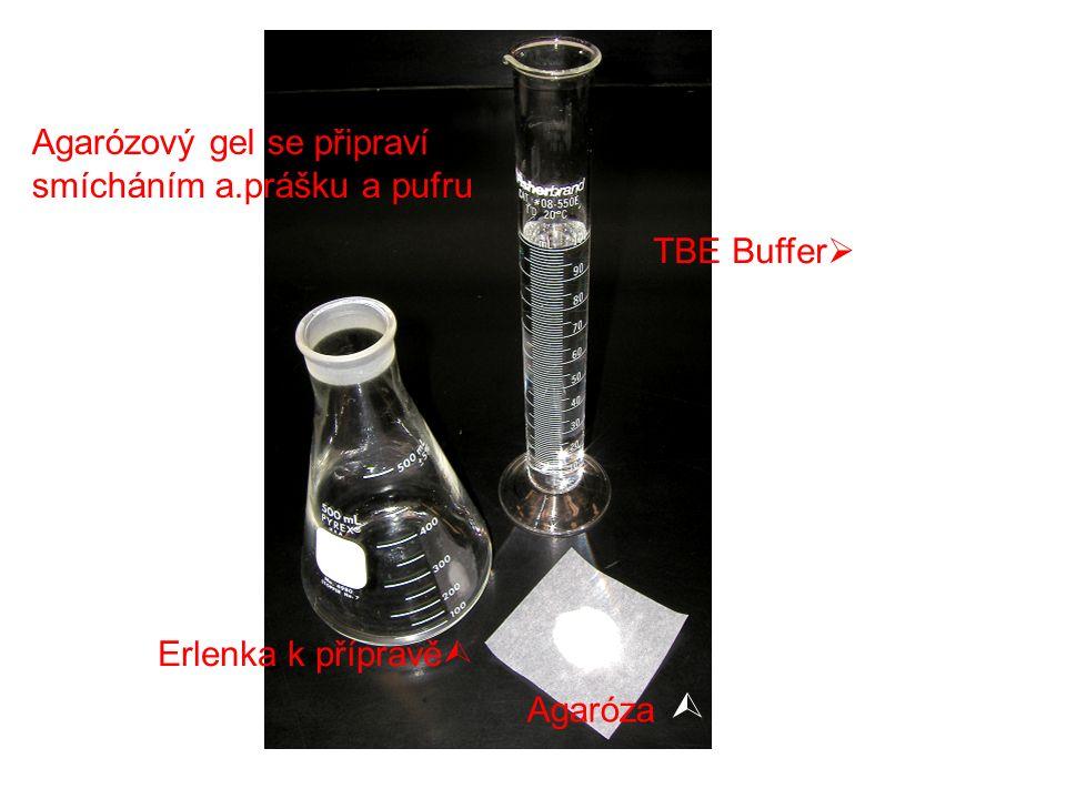 Agarózový gel se připraví smícháním a.prášku a pufru