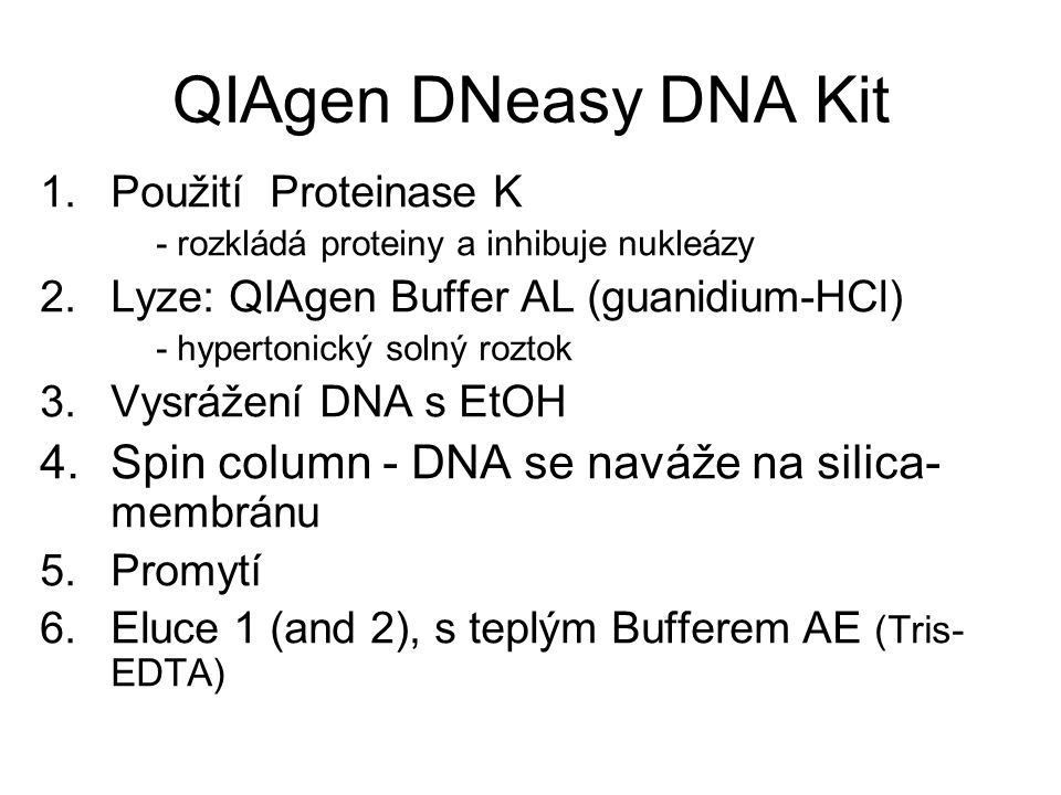QIAgen DNeasy DNA Kit Spin column - DNA se naváže na silica-membránu
