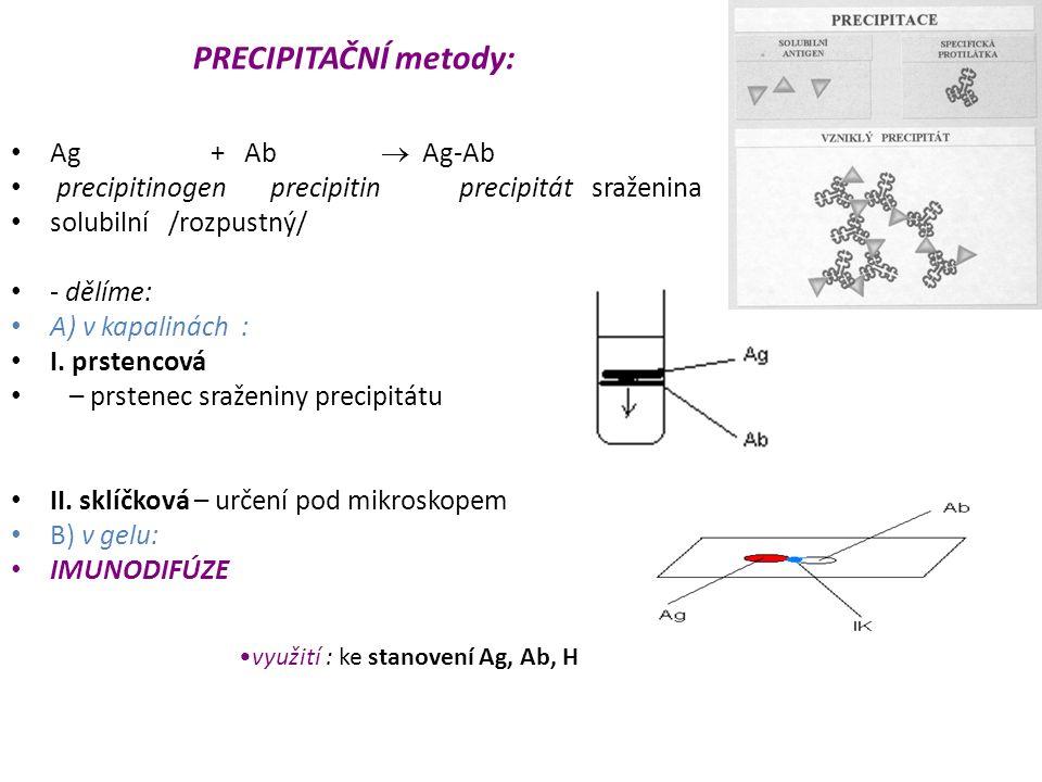 PRECIPITAČNÍ metody: Ag + Ab  Ag-Ab