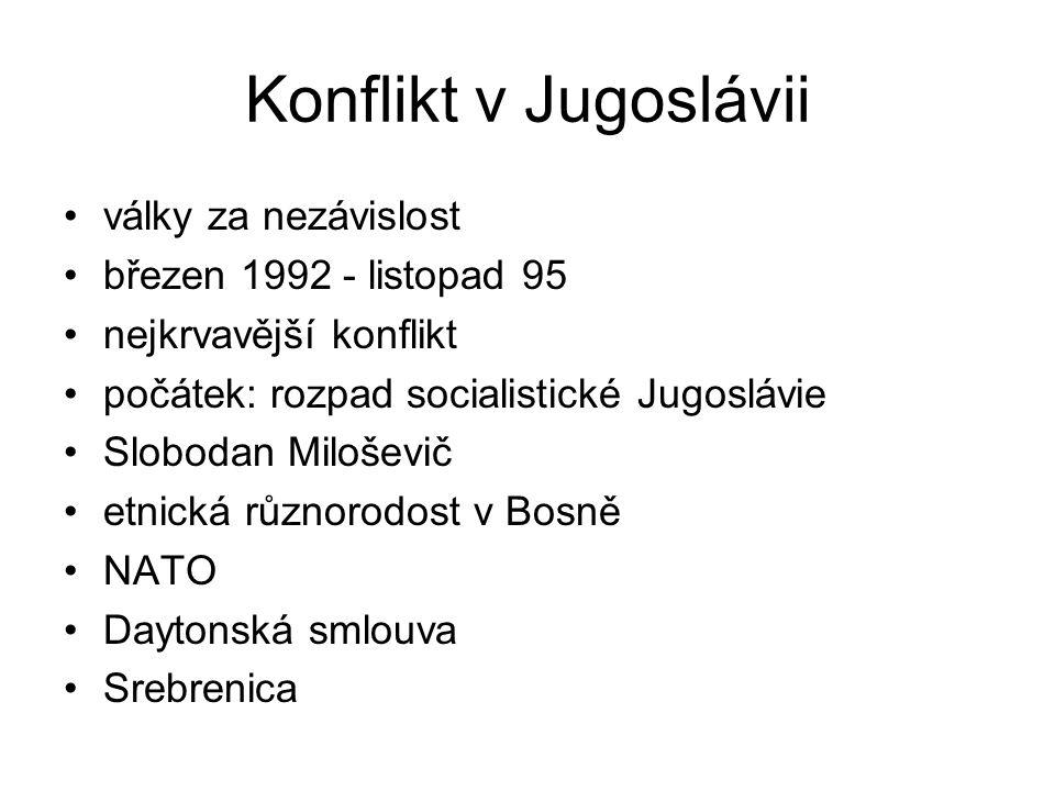 Konflikt v Jugoslávii války za nezávislost březen 1992 - listopad 95