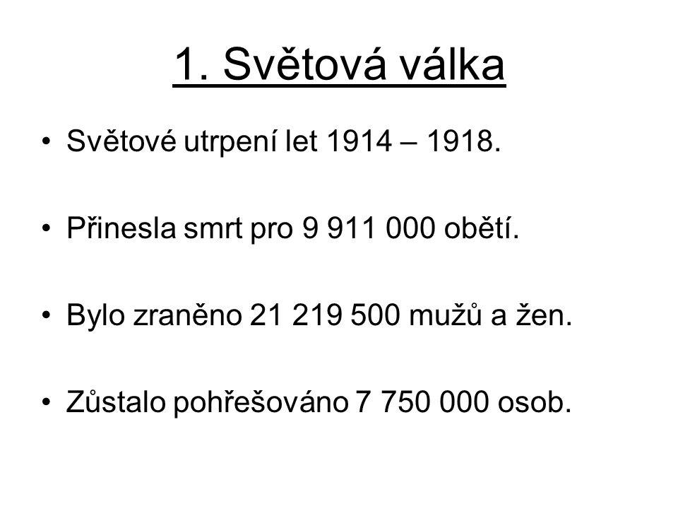 1. Světová válka Světové utrpení let 1914 – 1918.