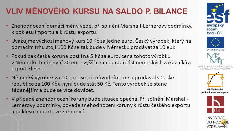 VLIV MĚNOVÉHO KURSU NA SALDO P. BILANCE