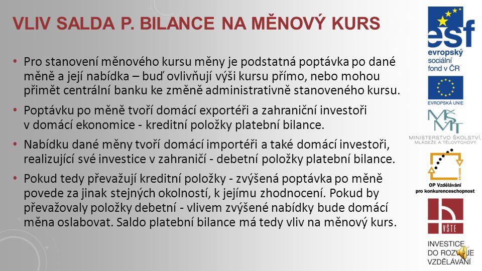 VLIV SALDA P. BILANCE NA MĚNOVÝ KURS