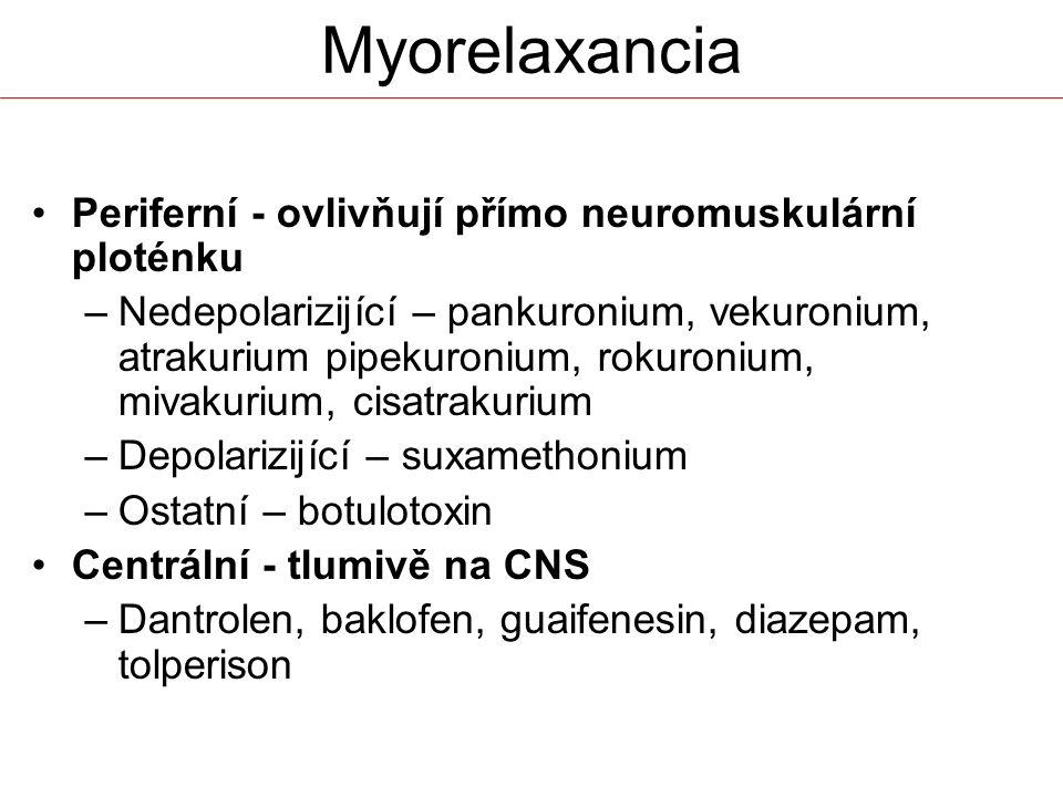 Myorelaxancia Periferní - ovlivňují přímo neuromuskulární ploténku