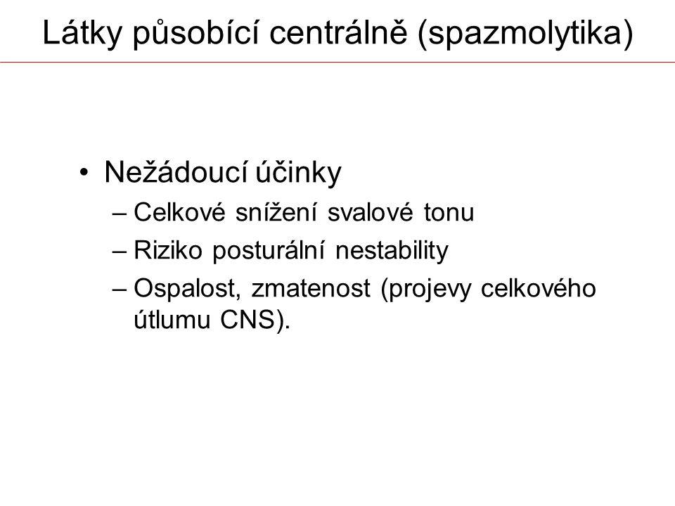 Látky působící centrálně (spazmolytika)