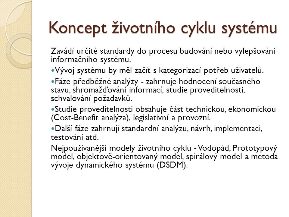 Koncept životního cyklu systému