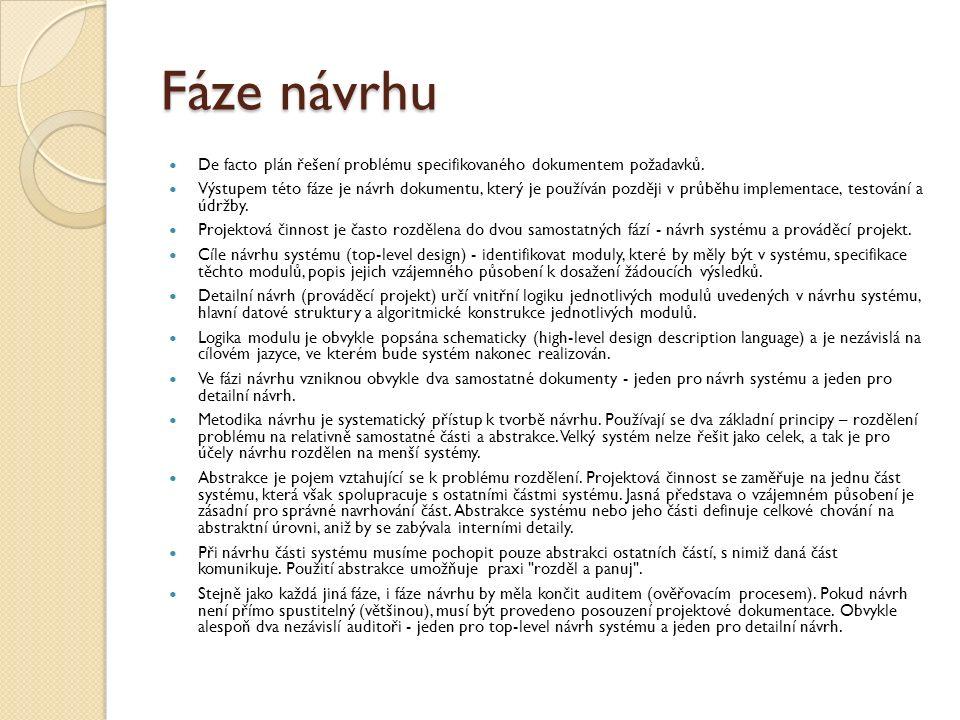Fáze návrhu De facto plán řešení problému specifikovaného dokumentem požadavků.