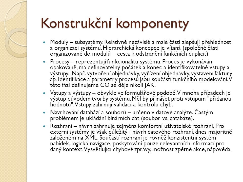 Konstrukční komponenty