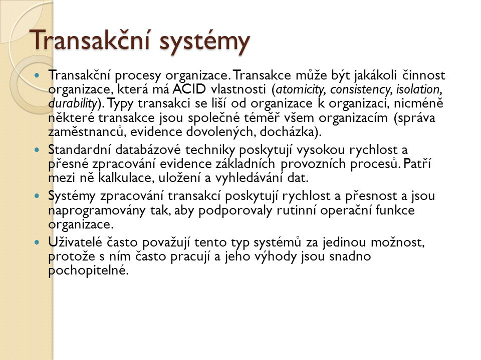 Transakční systémy