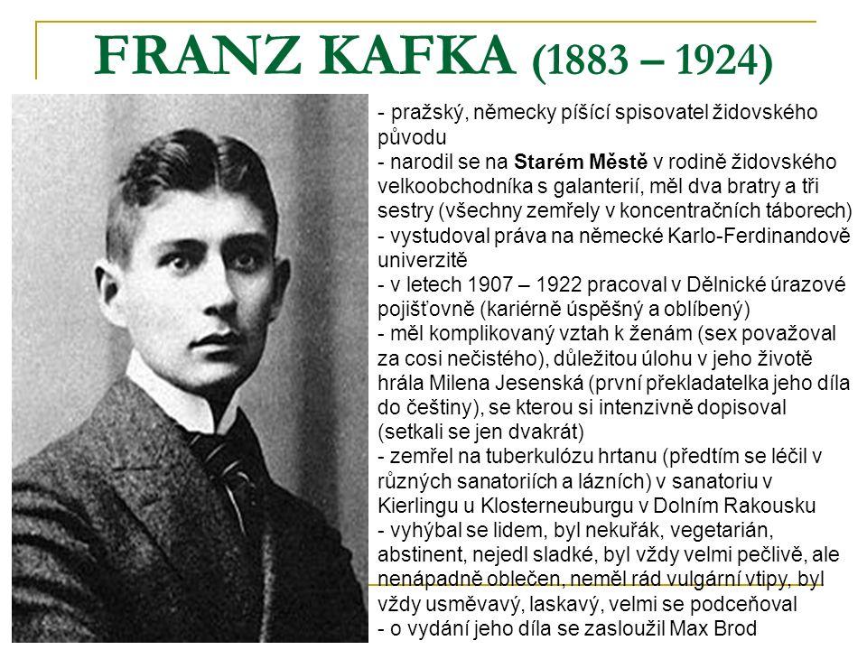FRANZ KAFKA (1883 – 1924) pražský, německy píšící spisovatel židovského původu.