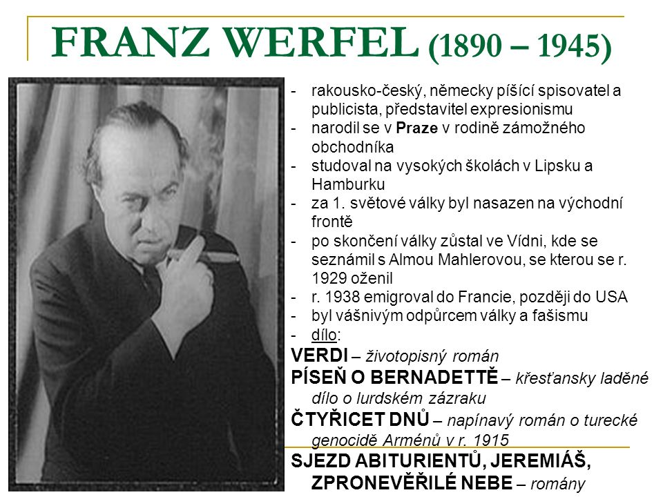 FRANZ WERFEL (1890 – 1945) VERDI – životopisný román