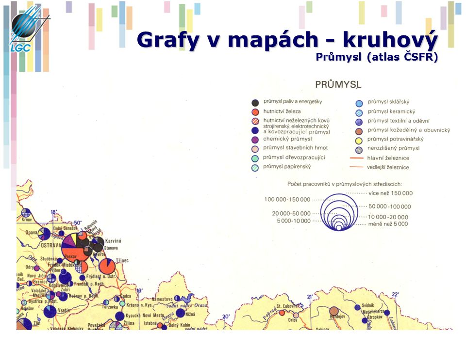 Grafy v mapách - kruhový Průmysl (atlas ČSFR)