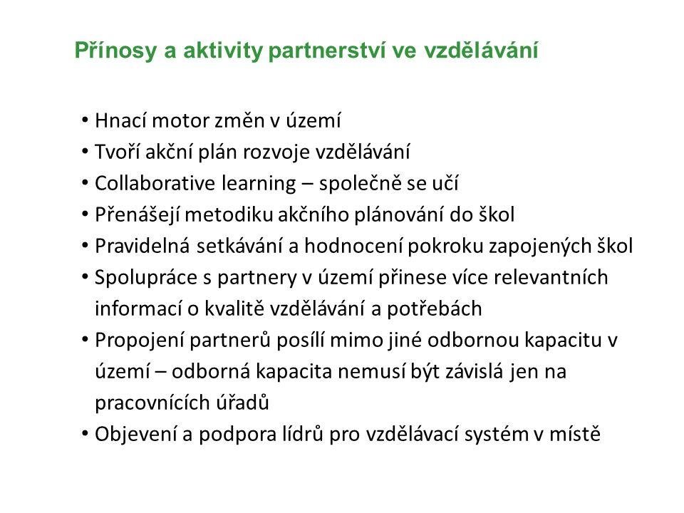 Přínosy a aktivity partnerství ve vzdělávání