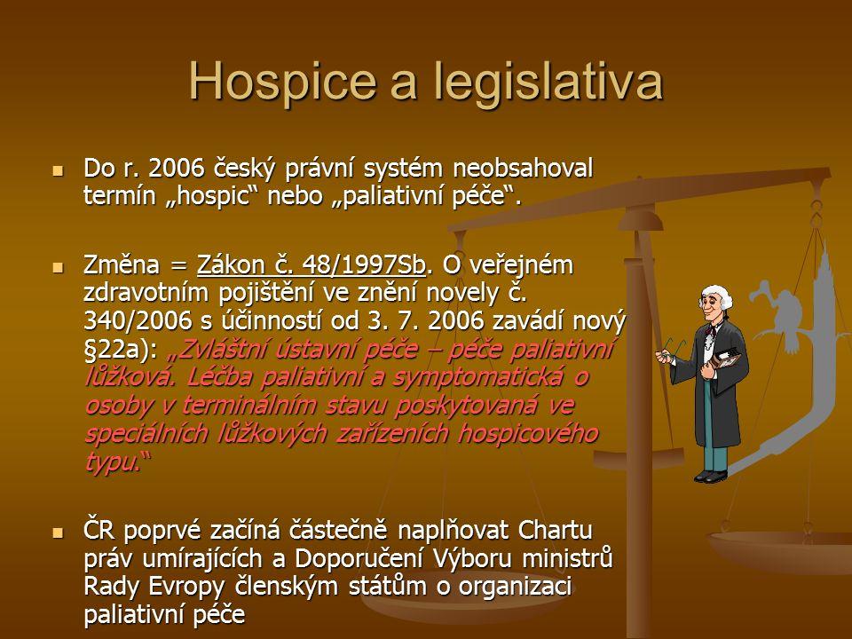"""Hospice a legislativa Do r. 2006 český právní systém neobsahoval termín """"hospic nebo """"paliativní péče ."""